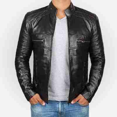 Austin black cafe racer jacket being worn - front view