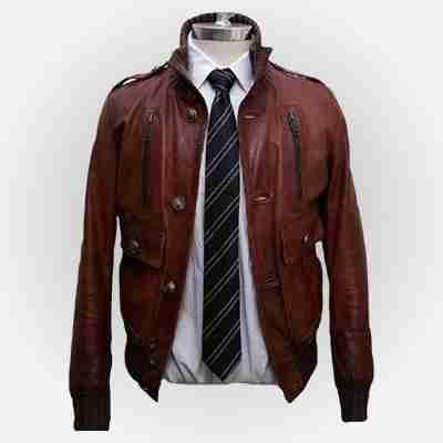 Cristiano Ronaldo's brown bomber leather jacket