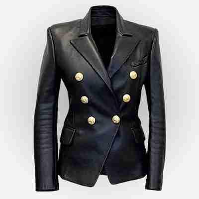 Kim Kardashian's double breasted leather blazer jacket