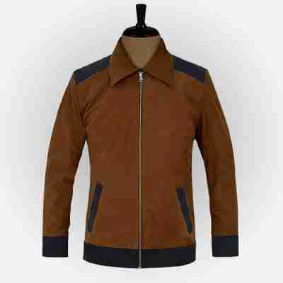 Cristiano Ronaldo's soft caramel brown suede leather jacket