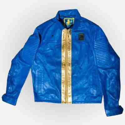 Vault Tec blue bomber leather jacket from Fallout 76