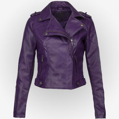 Women's purple biker leather jacket from the front