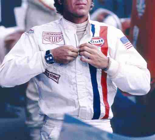 Steve McQueen wearing the Gulf Racing white jacket in Le Mans