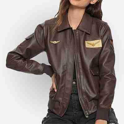 Captain Marvel Brie Larson Flight Bomber Brown Jacket