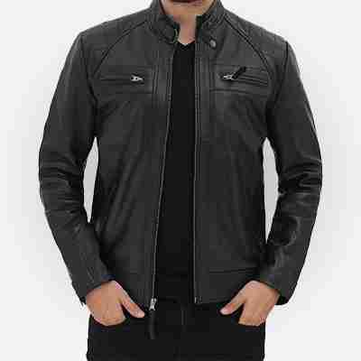 Johnson Black Leather Jacket for Mens