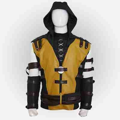 Mortal Kombat X Scorpion Leather Jacket with Hood
