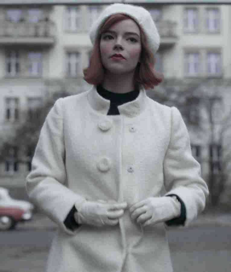 The Queen's Gambit Anya Taylor Joy White Coat
