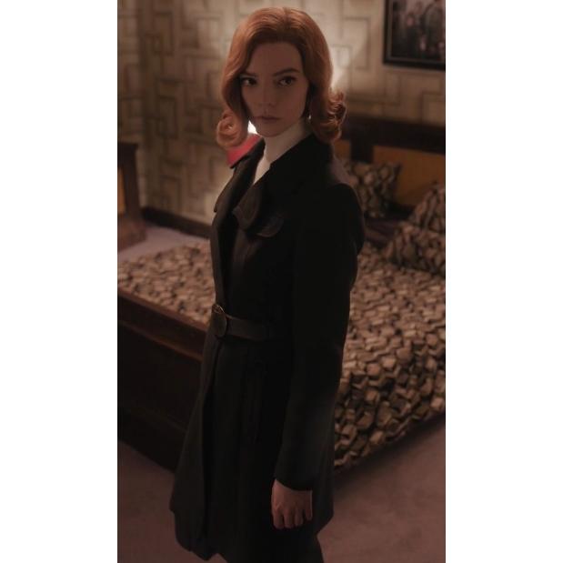 The Queen's Gambit Beth Harmon Black Coat