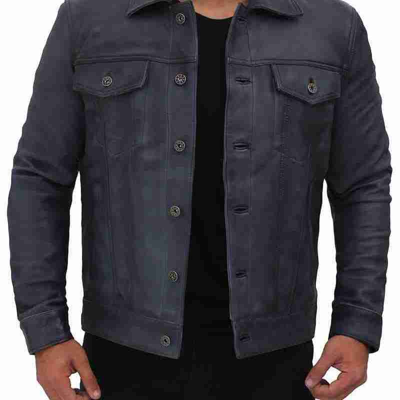 Gray-Blue Leather Trucker Front