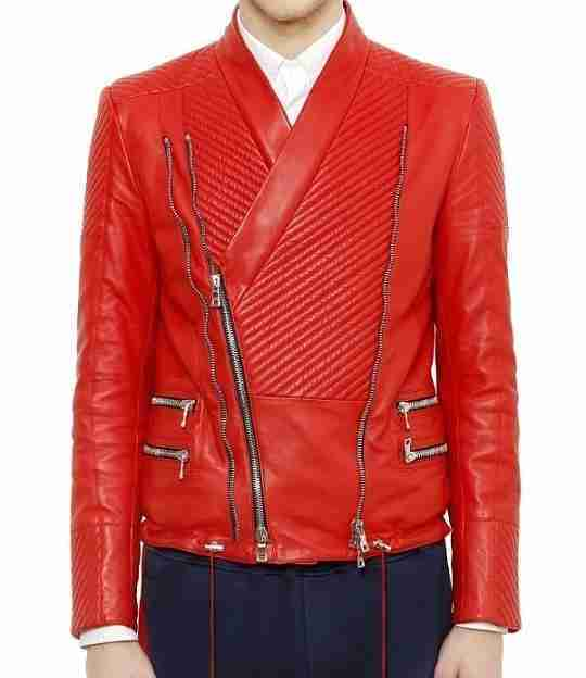 Justin Beiber Michael Jackson style quilted red leather jacket front view