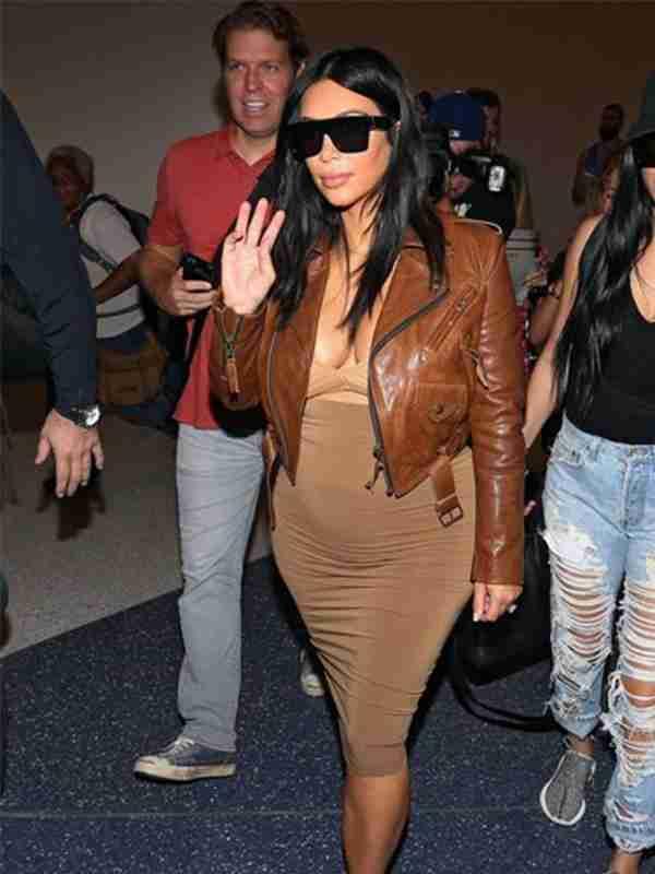 Kim-K Brown Leather Jacket