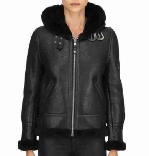 Women's black leather aviator hooded jacket seen from the front