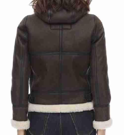Dark brown women's hooded aviator fur jacket from the back