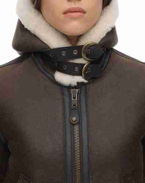 Adjustable buckle strapped hooded collar of brown aviator women's jacket