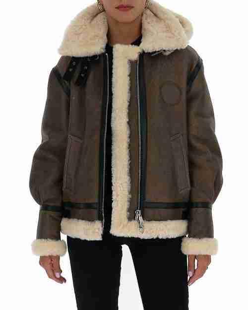 Women's aviator fur jacket front view