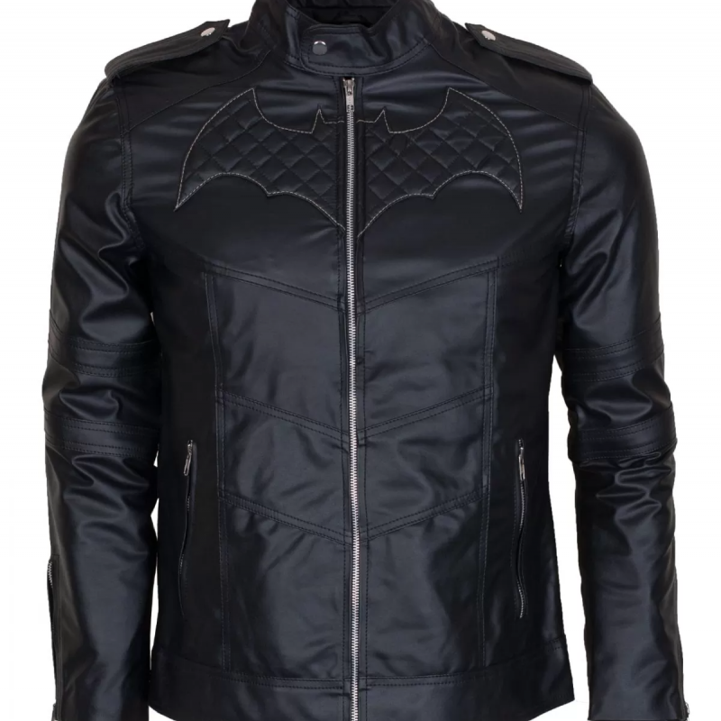 Batman Beyond's black biker leather jacket with logo quilted at front