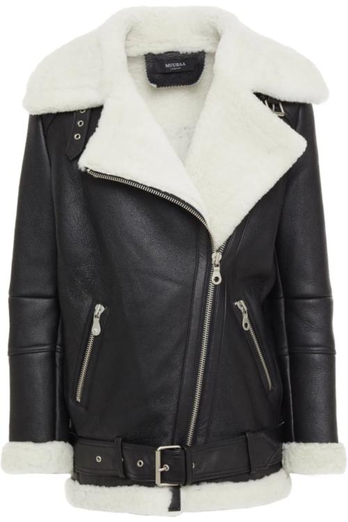 Women's black biker shearling jacket front view