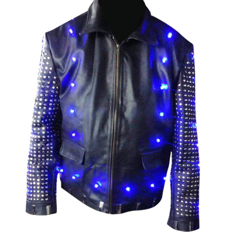 Chris Jericho's WWE light up leather jacket - front view