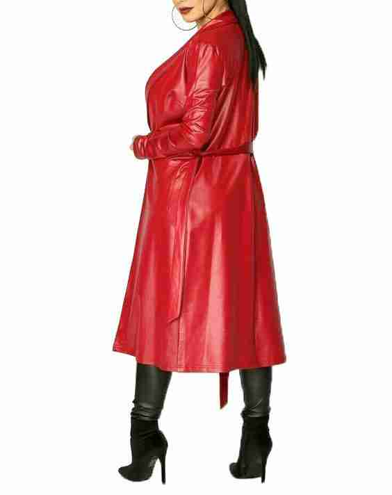 Ariana Grande faux leather coat in red - back view