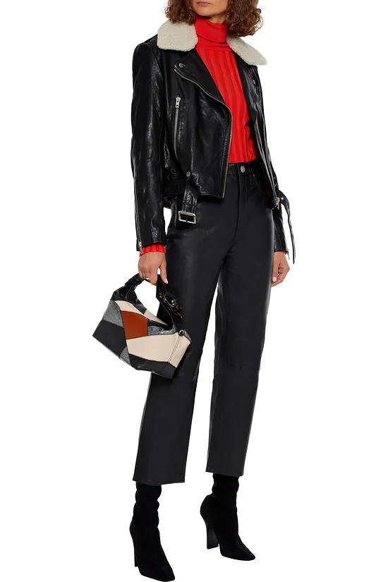 Womens black biker washed leather jacket with shearling collar