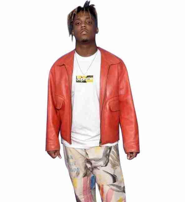 Juice WRLD posing in a reddish-orange leather jacket
