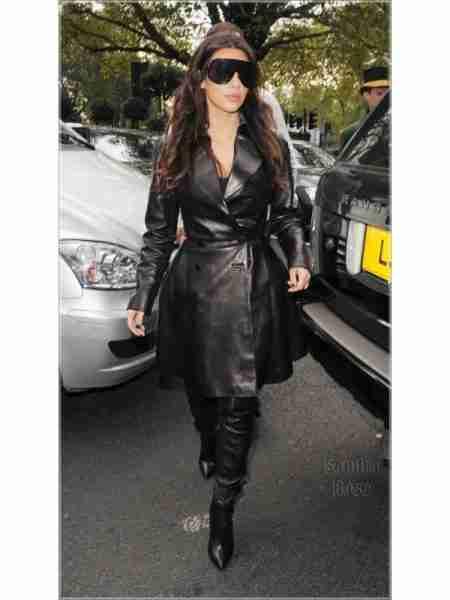 Kim Kardashian in her black leather trench coat