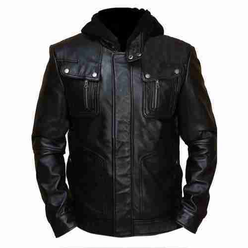 Brando style slim fit black leather jacket for men - front view