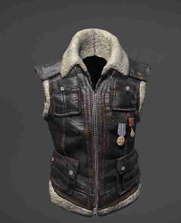 Brown shearling lined leather vest from PUBG