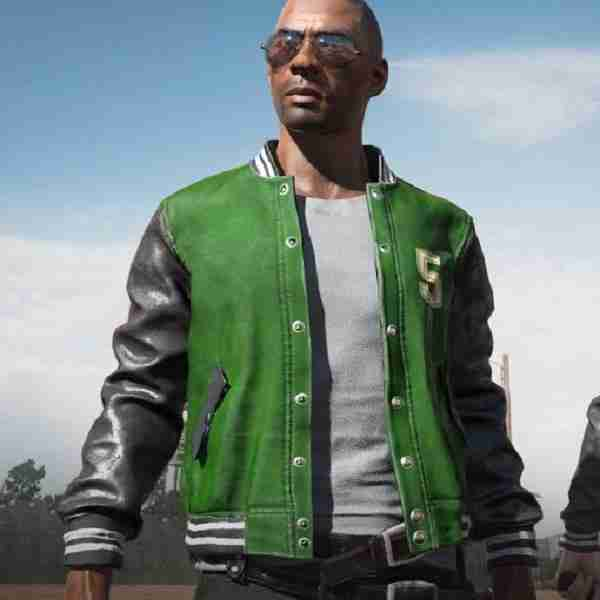 Male character wearing M5 green letterman jacket from PUGB