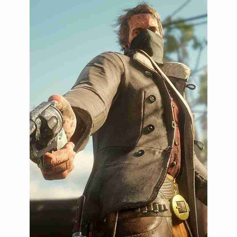 Arthur Morgan (Roger Clark) from Red Dead Redemption 2 wearing his brown corduroy scout jacket