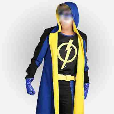 Static Shock cosplay wearing black and blue mutlicolor hooded costume jacket
