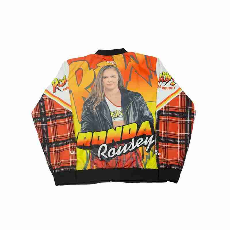 Printed back of retro style bomber jacket with a picture of WWE star Ronda Rousey