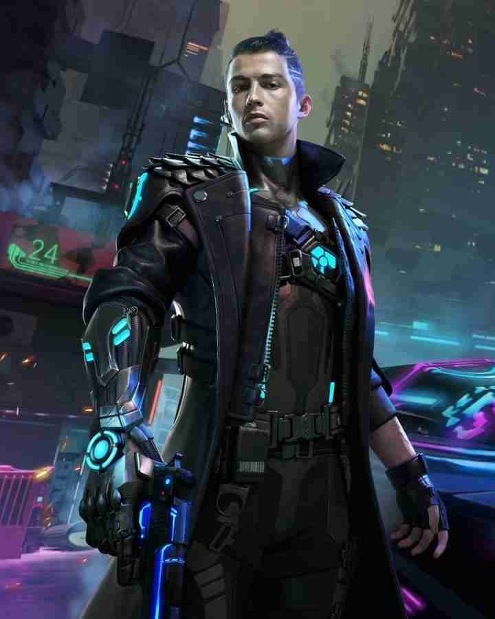 Cristiano Ronaldo as Chrono in the newly released Garena Free Fire game wearing a black leather long coat