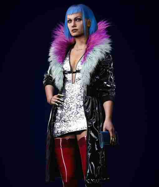 Evelyn Parker from CyberPunk 2077 in her black leather fur coat attire