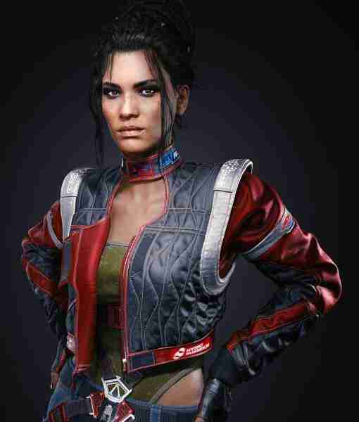 Panam Palmer from Cyberpunk 2077 in her cropped red & black leather jacket outfit