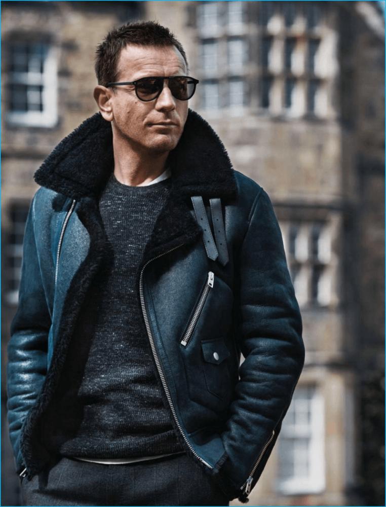 Ewan Mcgregor wearing a shearling line motorcycle leather jacket