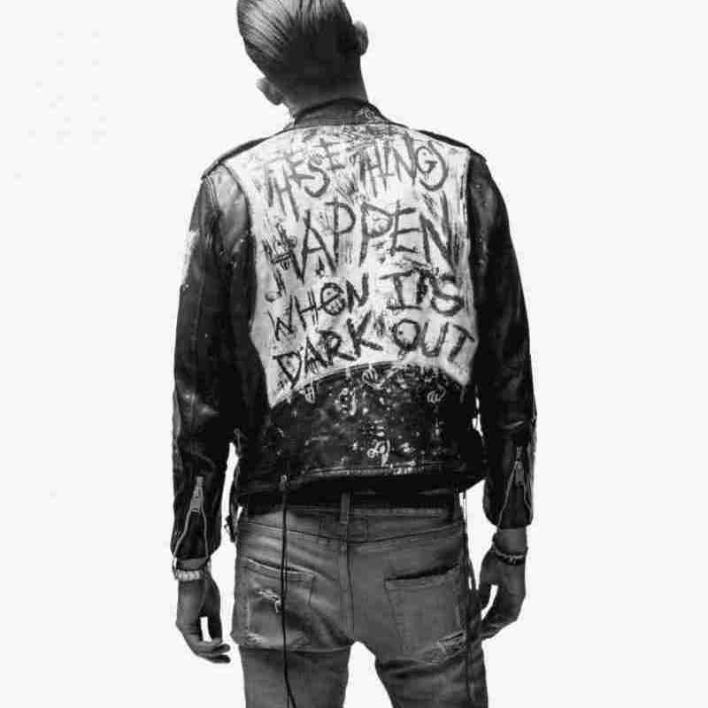 These Things Happen When It's Dark out designed back of G-Eazy's black leather jacket