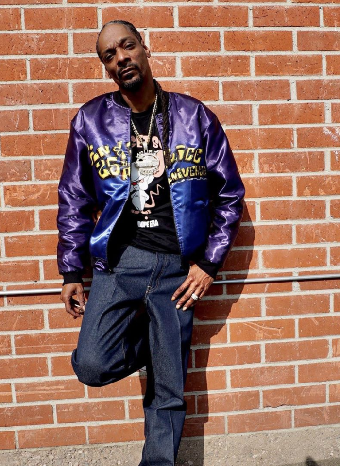 snoop dogg wearing his gin and juice 25th anniversary bomber jacket