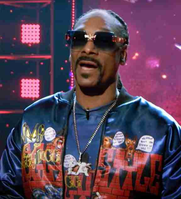 Snoop Dogg wearing his doggy style t-shirt over a doggy style bomber jacket at the Go-Big show