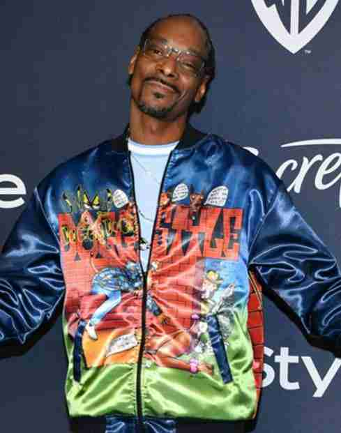 Snoop Dogg wearing doggy style bomber printed bomber jacket at the Go-Big show
