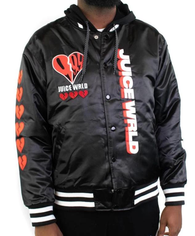 Juice Wrld's black satin hooded bomber jacket