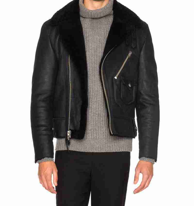 Mens shearling lined motorcycle black leather jacket - frontal