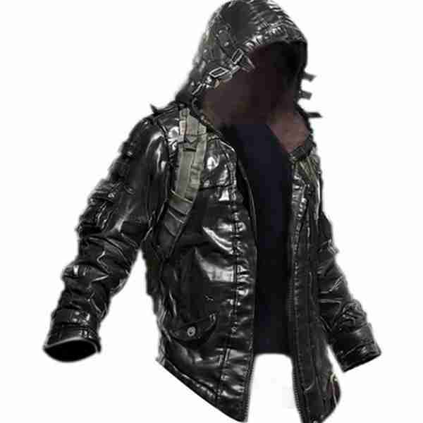 Hooded faux leather black jacket from PUBG