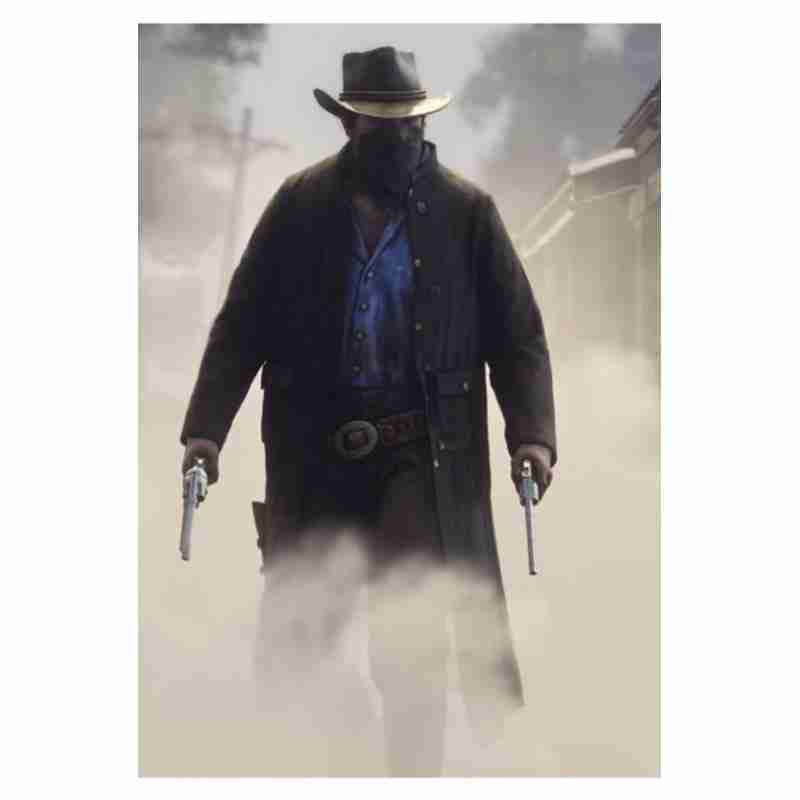 Arthur Morgan from Red Dead Redemption 2 wearing a black woolen trench coat