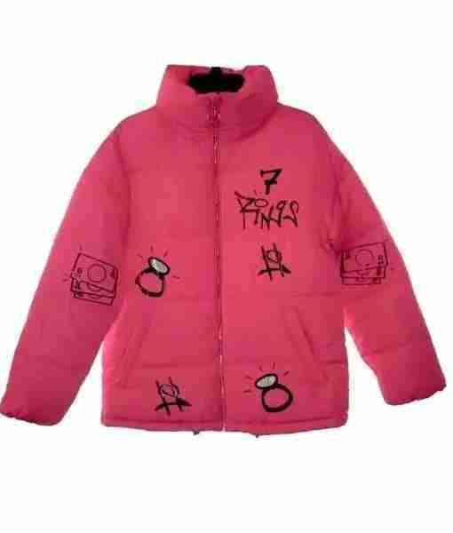 Ariana Grande inspired 7 Rings pink puffer jacket from the front