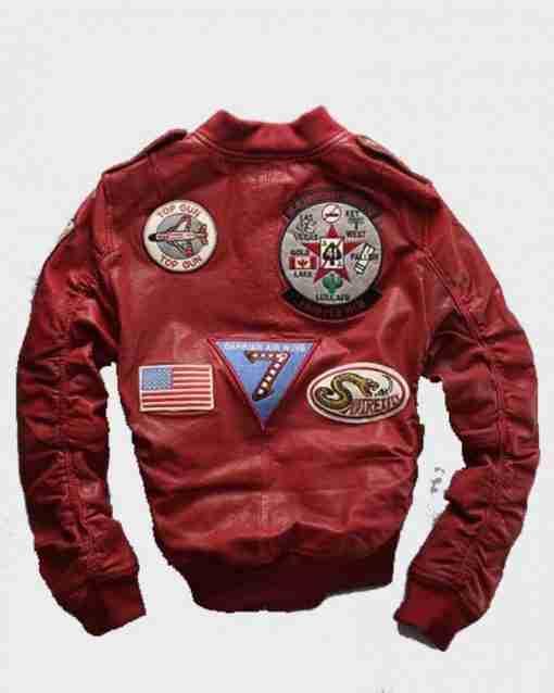 Carrier Air Wing baseball bomber red leather jacket for men - back