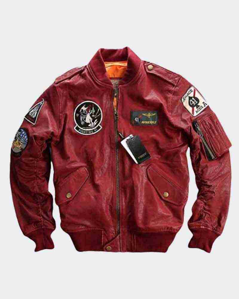Men's Carrier Air Wing baseball bomber red leather jacket