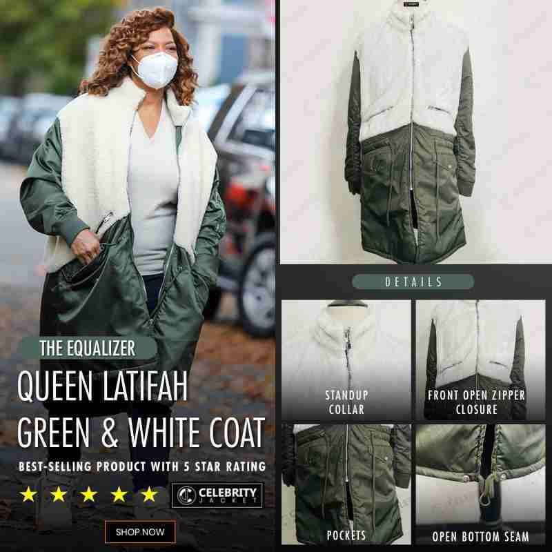 Queen Latifah's green & white leather and shearling coat from the Equalizer 2021 - CelebrityJacket infographics