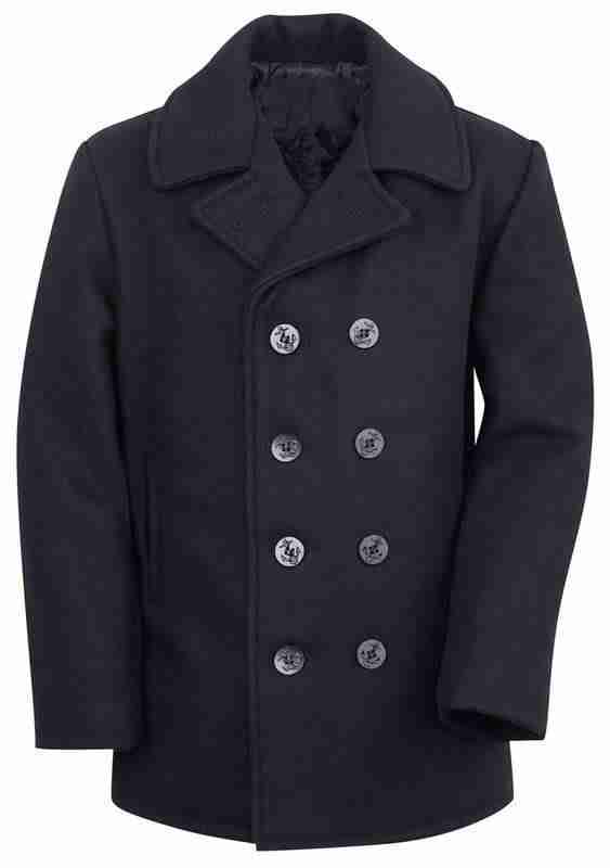 Men's classic navy color melton wool pea coat - front