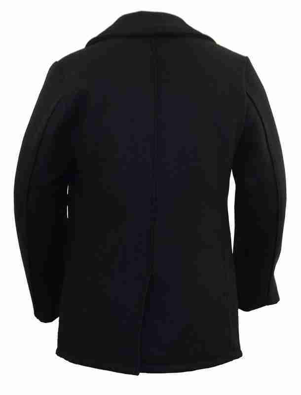 Back of men's classic melton wool pea coat in navy color - back